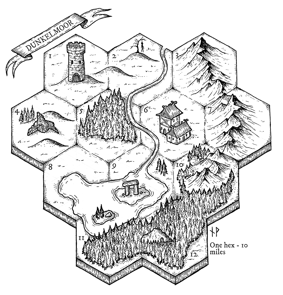 Dunkelmoor map with hexagons
