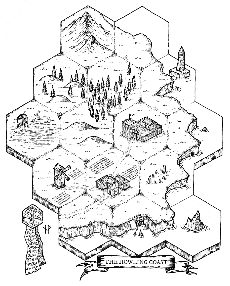The Howling Coast hex map