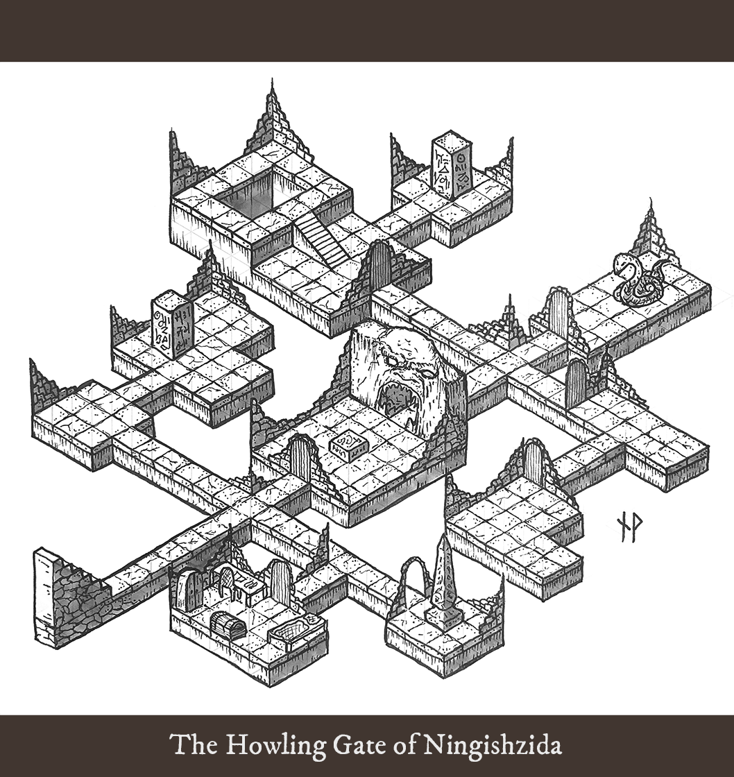 Image of isometric dungeon map