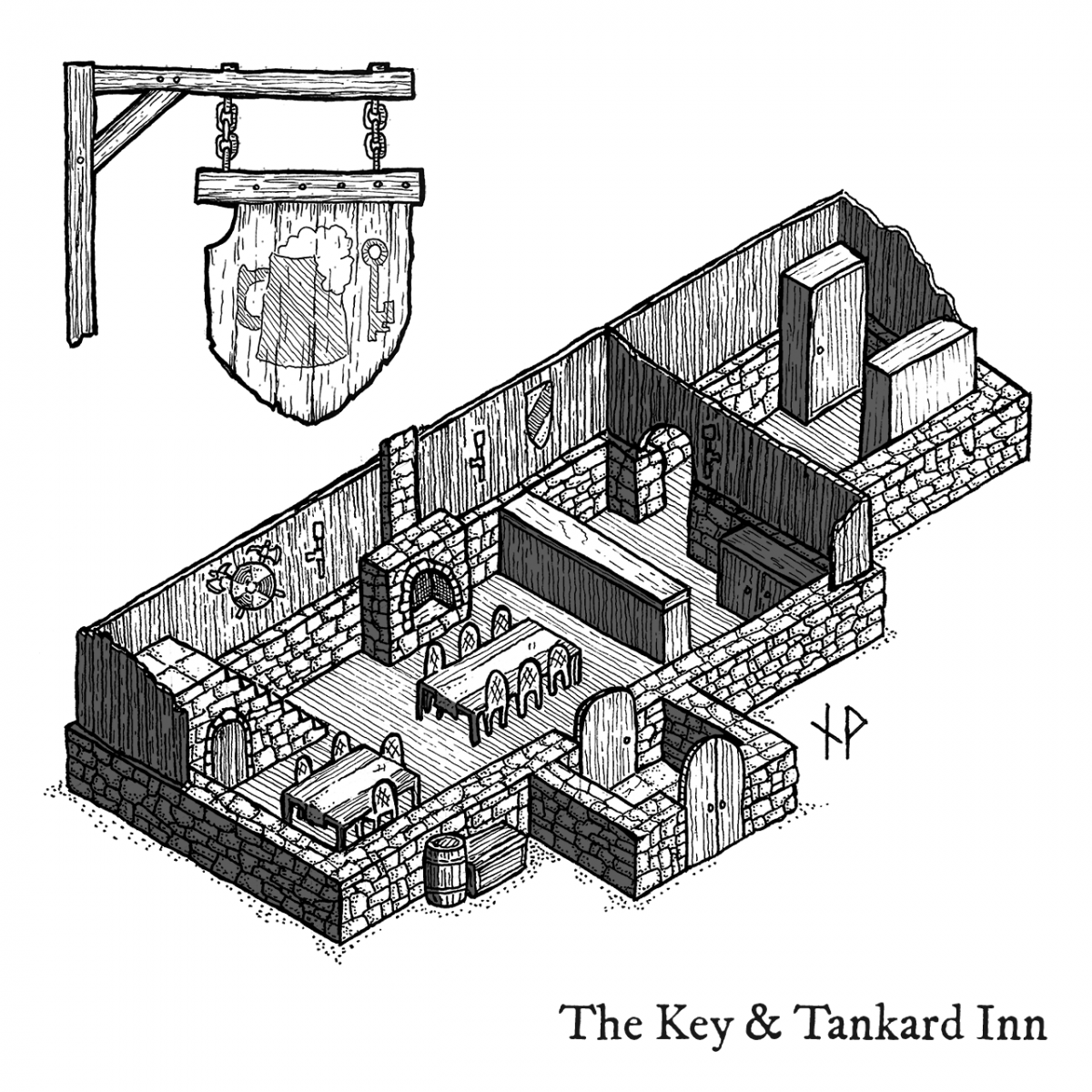Isometric map: The Key & Tankard inn