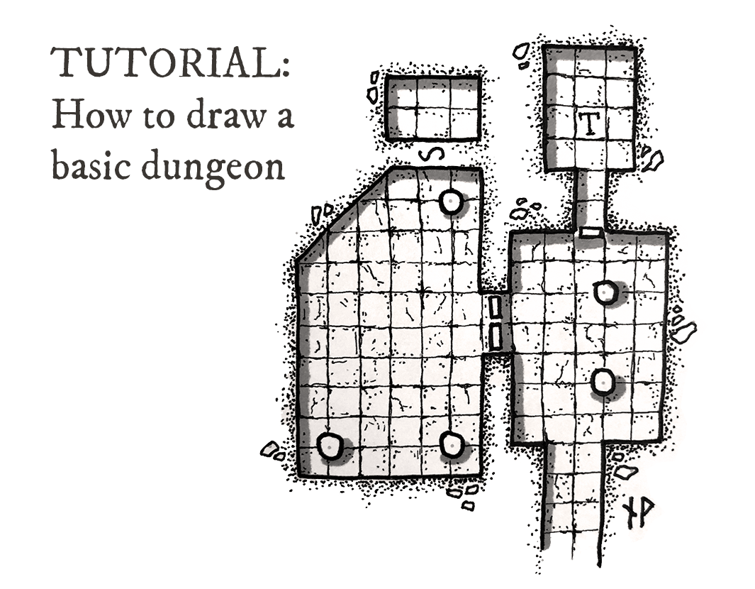 Title image: how to draw a basic dungeon map