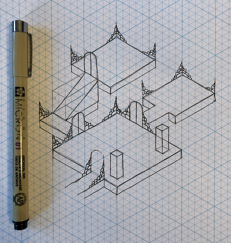 Tutorial: how to draw an isometric dungeon map - Paths Peculiar