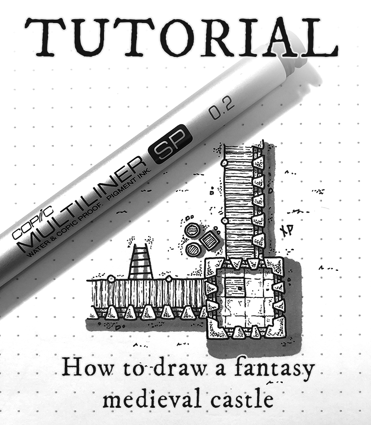 Title image - Tutorial: how to draw a fantasy medieval castle map