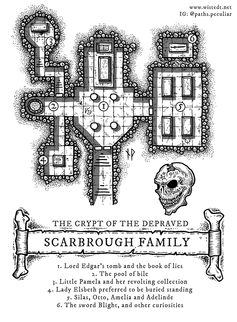 The Scarbrough family crypt –  dungeon map