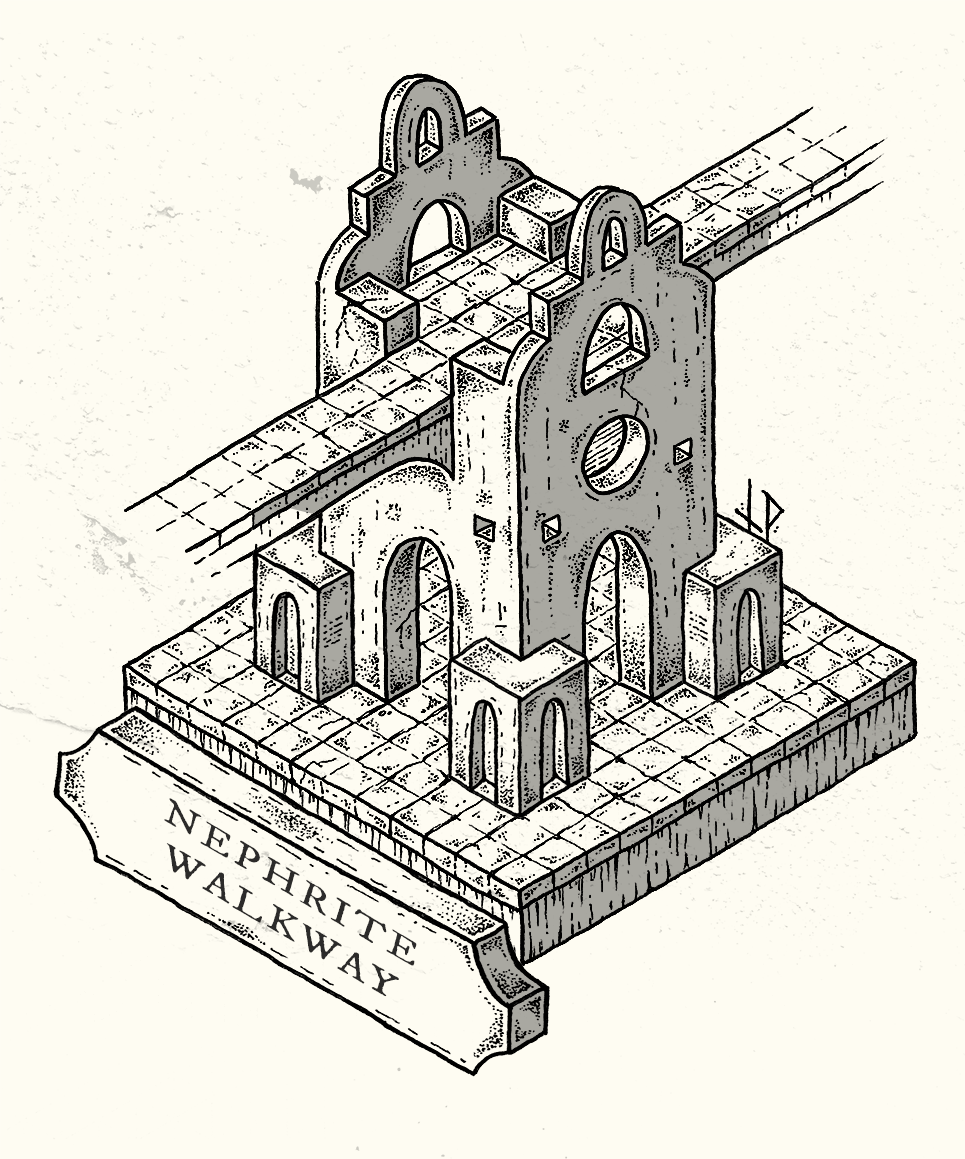 Abutment of the Nephrite Walkway – isometric map
