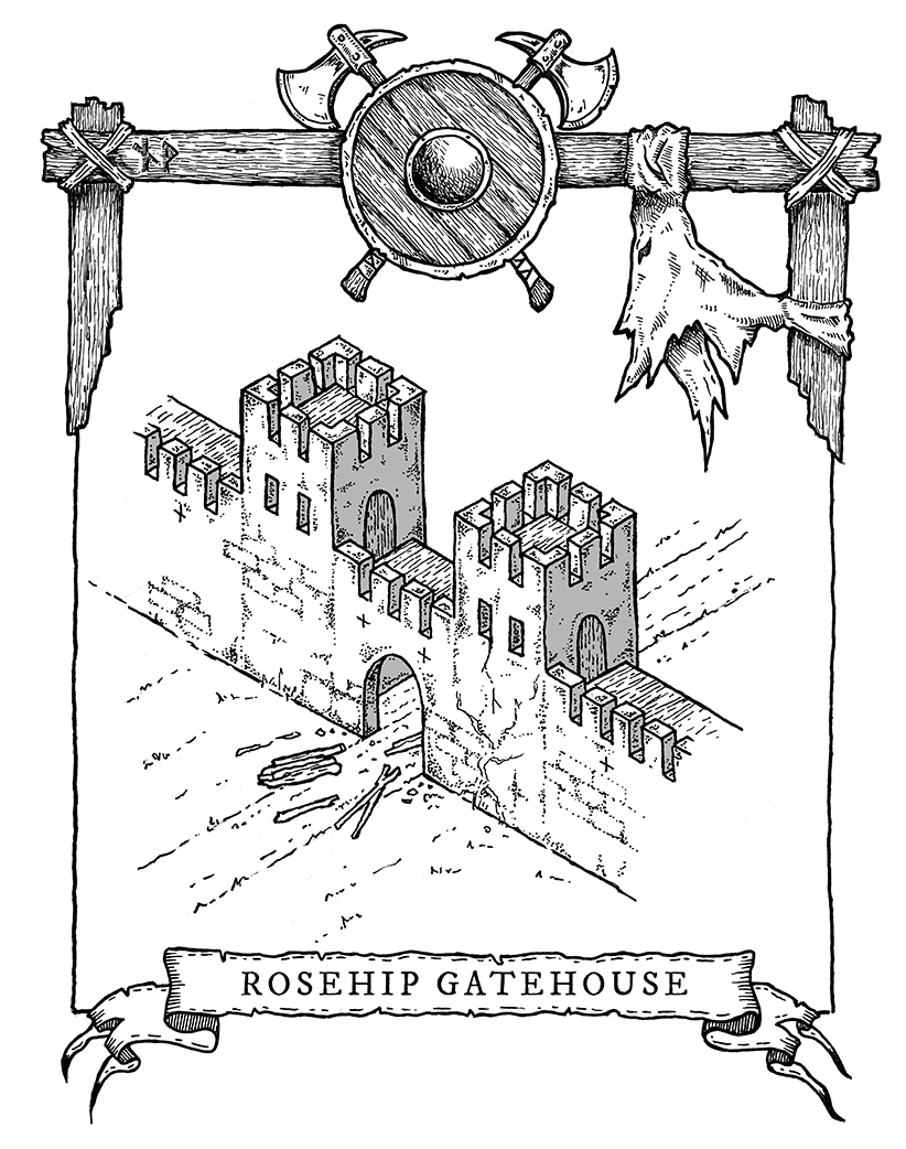 Isometric castle barbican map – Rosehip Gatehouse